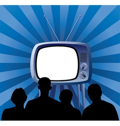 family watching tv set vector image vector image