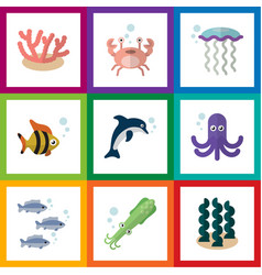 Flat icon sea set of medusa tentacle playful vector