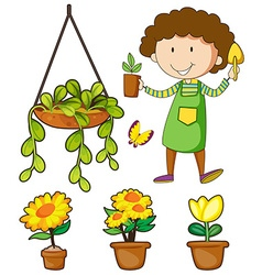 Gardener and potted plants vector image vector image