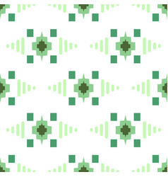 Geometric eastern grid motif green and white vector