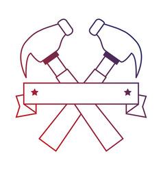 Hammers labour day celebration emblem vector