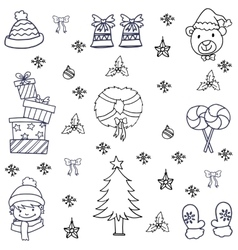 Hand draw flat christmas doodle set vector image
