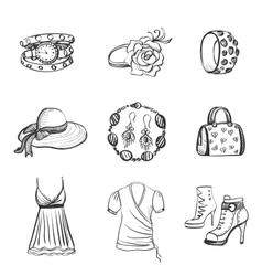 Hand drawn Fashion icons vector image