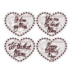 Hearts with lettering to mother vector