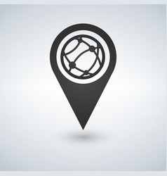 Map pointer globe internet flat icon vector