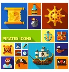 Pirates Flat Cartoon Icons vector image vector image