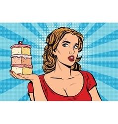 Pop art girl diet cake vector image