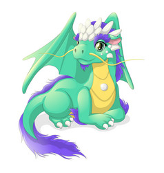 Pretty green dragon vector