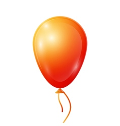 Realistic orange balloon with ribbon isolated on vector