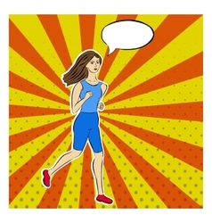 Running girl in pop-art style dotted rays pop vector