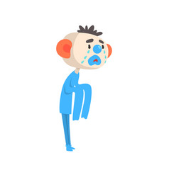 Sad crying clown colorful cartoon character vector