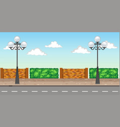 Scene with two lampposts on pavement vector