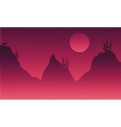 Scenery hills and animal in fog vector image vector image