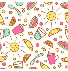 seamless pattern with breakfast items vector image