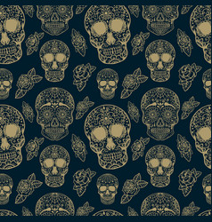 seamless pattern with sugar skulls isolated on vector image vector image