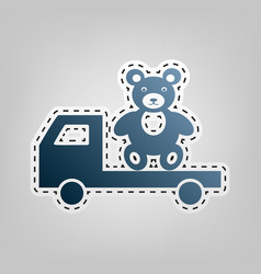 Truck with bear blue icon with outline vector
