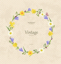 Vintage card with round frame of spring flowers vector