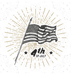 vintage label hand drawn usa flag happy vector image vector image