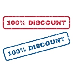 100 percent discount rubber stamps vector