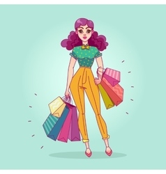 Girl with shopping bags from the store vector image