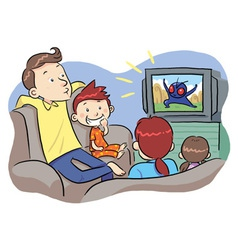 Watching tv with family vector
