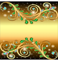 Golden background with jewels ornament and stars vector