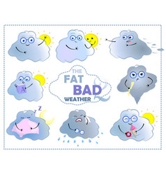 cartoon character cloud with sun fat bad weather vector image