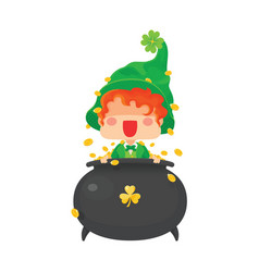 happy st patrick day leprechaun with pot of gold vector image