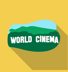 World cinema sign icon in flate style isolated on vector