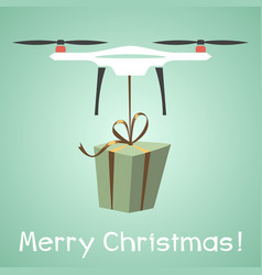Drone delivery present new year merry christmas vector