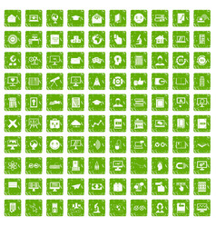 100 e-learning icons set grunge green vector