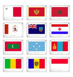 Official national flags on metal texture plates vector