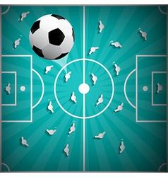 Football Ball Above Playground Background - Retro vector image