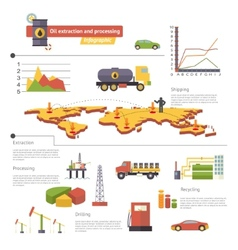 Oil extraction and processing infographics icons vector