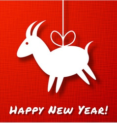 Goat paper applique on red canvas background vector