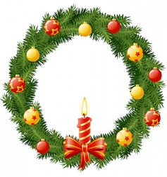Christmas wreath with burning vector