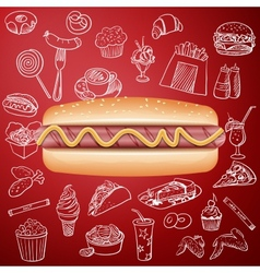 Hot dog and hand draw fast food icon vector