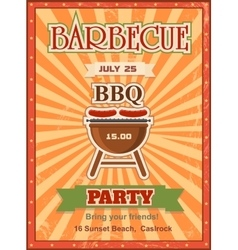Invitation card on the barbecue design template vector