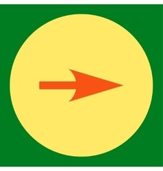 Arrow axis x flat orange and yellow colors round vector