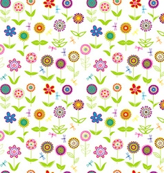 Whimsical flowers seamless vector