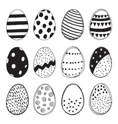 Set of easter eggs doodles vector