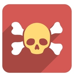 Skull and bones flat rounded square icon with long vector