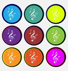 Musical notes icon sign nine multi colored round vector