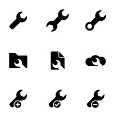 Black spanners icon set vector