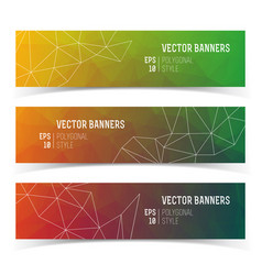 Abstract triangle multicolored banners set vector