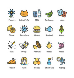 allergens signs color thin line icon set vector image vector image