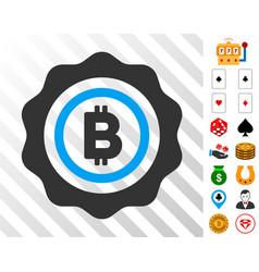 Bitcoin seal stamp icon with bonus vector