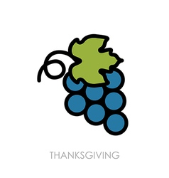 Bunch of grapes icon harvest thanksgiving vector