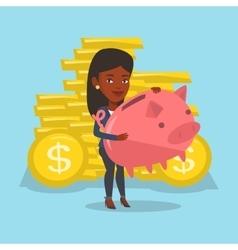 Business woman holding a big piggy bank vector