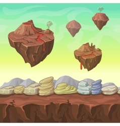 Cartoon nature landscape islands and stones vector